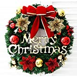 EdBerk74 Corona de Navidad Árbol de Navidad Anillo Redondo Hecho a Mano Elegante Corona de Vacaciones Corona de Pino Puerta Guirnalda de Pared Decoración