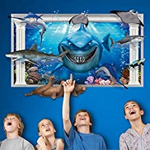 3d océano mundo tiburón peces pegatinas de pared extraíble adhesivo para pared papeles casa vinilo PVC arte imágenes murales para salón o dormitorio infantil bebé niñas niños + 3d rana coche adhesivo
