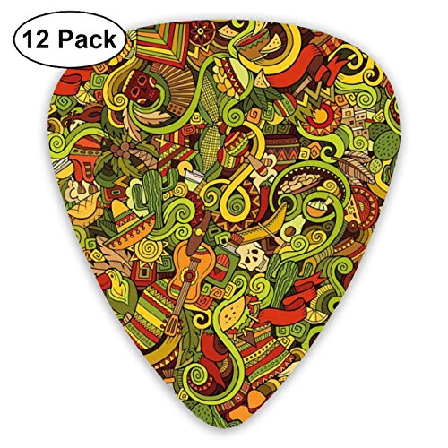 ectrum (0.46mm-0.96mm), Cartoon Style Latin American Elements Guitar Hat Facemasks Swirls Ethnic Culture,For Your Guitar or Ukulele ()