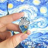 QISKAII Van Gogh Cielo Stellato Anatomico Cuore Spille smaltate Organo Arte Medica Artista Spille Spille a Forma di Cuore Spi