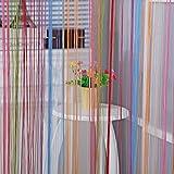 Baoblaze Bunte Schnur Vorhang Fadengardine Raumteiler für Haus Hochzeit - 7 Farben-200 × 100 cm