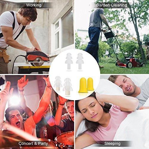 3 Paar Schlafende Ohrstöpsel/Akustische Ohrstöpsel/Geräuschreduzierung Ohrstöpsel mit 33dB Höchste NRR, Komfortable Gehörschutz zum Arbeiten, Studieren, Schlafen, Partys und Konzerte, von AGPTEK - 3