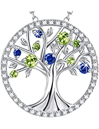 "GinoMay"" The Tree of Life""Jewellery September Birthstone Created Blue Sapphire and Peridot Necklace Birthday Gift For Her Sterling Silver Allergen free,Elegant Gift Box,45+5cm Extender"
