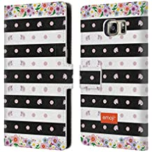 Official Emoji Stripes And Dots Unicorns Leather Book Wallet Case Cover For Samsung Galaxy S6 edge+ / Plus