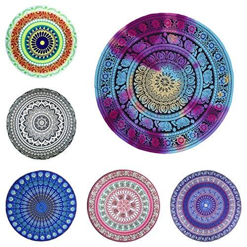 Smile YKK Indischen-Mandala-Tischdecke-Wandteppich-Strandtücher-Picknickdecke-Runde Mandala Rot-Blau