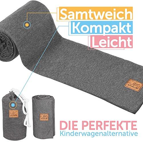 SOVERDE® Tragetuch - Babytragetuch für jede Größe I DUNKELBLAU I Inkl. Deutsche Binde Anleitung I Baby Erstausstattung - 4