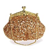 donne sera frizioni Fully Sequined mesh rilievo Antique Style wedding Formal cocktail clutch Purse golden Taglia unica