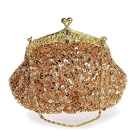 Women Evening Clutches Fully Sequined Mesh Beaded Antique Style Wedding Formal Cocktail Clutch Purse (Golden)