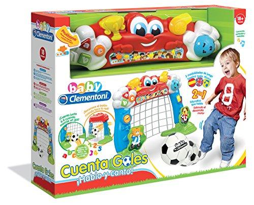 Baby Clementoni- Portería fútbol interactiva, Color Rojo, Azul y Verde (550487)