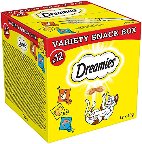 Dreamies Katzensnacks Katzenleckerli Mixbox Variety Snack Box mit 4x Huhn, 4x Lachs, 4x Käse, 1 Karton (1 x 720g)