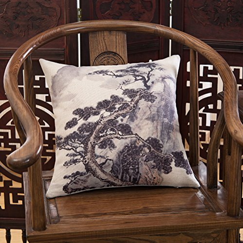 Paesaggio cuscini del divano/stile cinese/ cuscino di cotone imbottito/ cuscino lombare rotondo sedia/ letto-C 45x45cm(18x18inch)VersionA