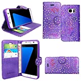 Gr8 value Luxury PU Leather Wallet Cover Flip book Phone Mobile case PU Leather Flip Case Cover Samsung Galaxy S6 Edge (Purple glitter book)