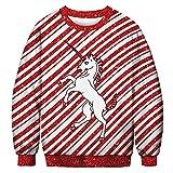 URVIP Unisex Weihnachtspullover Strickpullover 3D Druck Herren Damen Pullover Halloween Weihnachten Hoodies Jumper Ugly Sweater Einhorn BFT-024 XXL