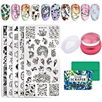 NICOLE DIARY 5pcs Stamp Template Set Dibujos animados Cute Fruit Animal Design Nail Art Rectángulo Image Stamping Kits de placas con Clear Jelly Stamper & Scrapers
