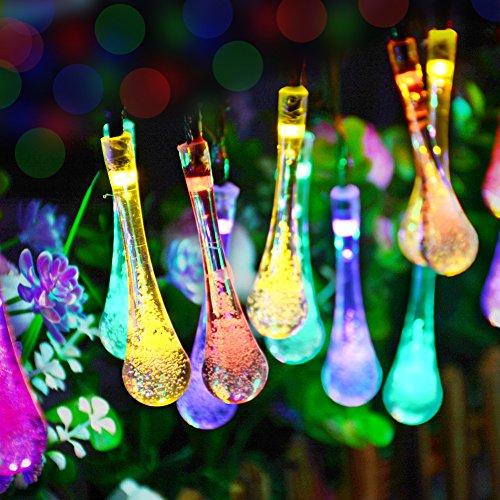 Dephen - lampade a energia solare a forma di gocce d'acqua, 8 modalità, 6 m, 30 led, impermeabili, da esterni, per giardino, patio, cortile, albero di natale, feste, decorazione per la casa moderno multi