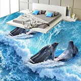 LHDLily 3D Wallpaper Wandbild Dolphin Badezimmer Schlafzimmer Erdgeschoss Malerei Verdickte Selbstklebende Wohnzimmer Lobby Bodenbeläge Wandgemälde 150Cmx100Cm