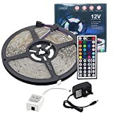 E-JIAEN LED Strip Water Resistant 16.4 ft/5m 300LEDs RGB LED Color Changing Flexible Strip Lights Lamp + 44Key Remote Control +DC12V Power Adaptor (SMD2835 RGB)