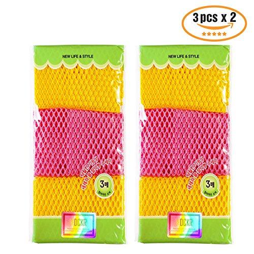 Gericht Waschtücher (27,9cm von 27,9cm) Schwämme Scrubber für geruchsfrei 6P 9p- Quick Dry, Multi Purpose Schrubben-Hohe Qualität Scrub Topfreiniger Pads (Pack von 3), 6 pcs - Silikon-drain-kits