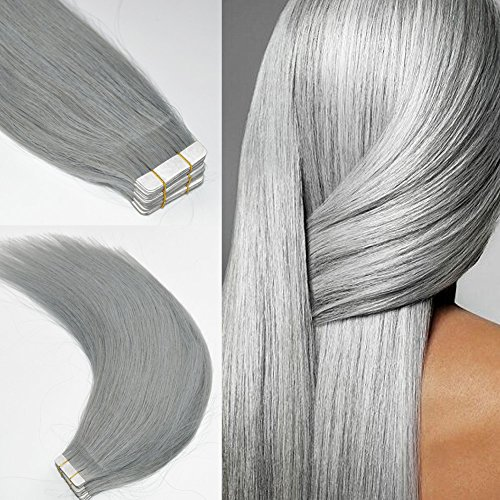 Shangxiu Extensions Haarverlängerung, 36 cm (14 Zoll), , silber, Stück: 1 (Haar-extensions-36)