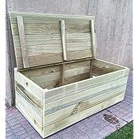 AD servicios Baúl/banco de madera tratada para el exterior. Totalmente Montado (100x50x40 cm)