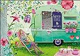 Glückwunschkarte ~ Mila Marquis ~ Frau in Liegestuhl mit Wohnwagen