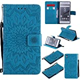For Sony Xperia Z5 Case [Blue],Cozy Hut [Wallet Case] Magnetic Flip Book Style Cover Case ,High Quality Classic New design Sunflower Pattern Design Premium PU Leather Folding Wallet Case With [Lanyard Strap] and [Credit Card Slots] Stand Function Folio Protective Holder Perfect Fit For Sony Xperia Z5 5,2 inch - blue