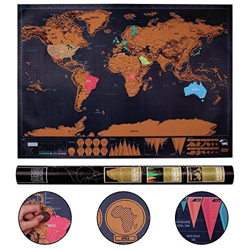 Mapa del Mundo Konomio Mapa para Rascar Map Hermoso Poster Scratch Off World Mapamundi de Pared Registra Tus Aventuras Regalo Perfecto para Viajeros Niños Fiesta (Negro | 82.5cm x 59 cm)