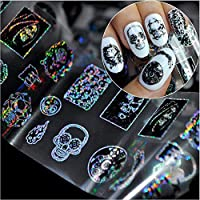 1 Roll Halloween Skull Nail Stickers Various Zombie Skeleton Head Nail Decals Fingernails Toenails Decoration Stickers