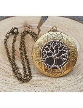 Messing antik Life Baum Medaillon Halskette Anhänger Geschenk Vintage Viktorianischer Stil