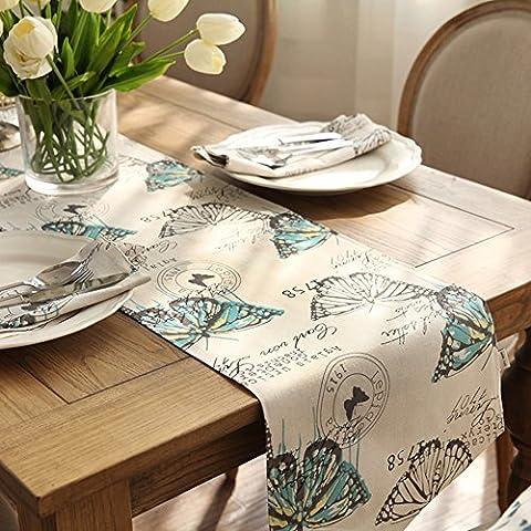 pianura tessuta lebbra American cotone table runner/[panno]/Giardino fresco stampa TV mobile corridore della tabella/ coffee table table runner/ bandiera-B 35x160cm(14x63inch)