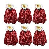1docena de pompones Crivers, 12 pompones de animadora para bailar y deportes, rojo