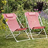 Pack Of 2 Harbour Housewares Metal Garden Deck Chair - 3 Positions - Red / White Stripe