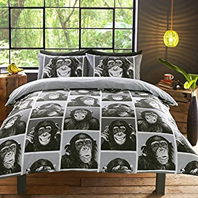 Cheeky Monkey Monochrome black and white Bedding Sets Duvet Cover & pillow Case set produced by Baas Wholesale - quick delivery from UK.