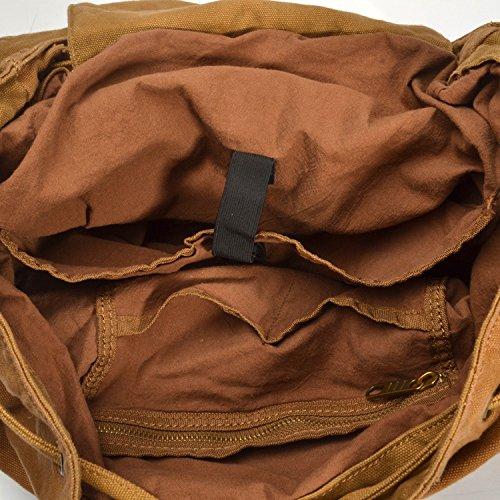 simplebase Unisex in Pelle con tela zaino Vintage Casual zaino borsa da palestra verde 6819green Standard 2150khaki