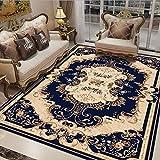 Blauer Retro-Muster-Stil Teppich Traditionellen Blumenteppich Wohnzimmercouch Tisch Teppich Schlafzimmer Bettwäsche Garderobe Küche Esszimmer Teppich Baby Krabbeln Matcan Werden Maschine Gewaschen,04,200*300Cm