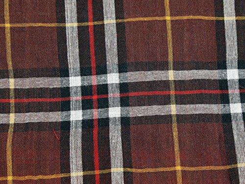 Mischgewebe Baumwolle & Wolle Tartan Check Voile Kleid Stoff Rost & Gold-Meterware -