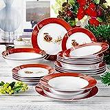 VEWEET, Serie CHRISTMASDEER, Porzellan Geschirrservice, 20-teilig Geschirr Set, mit Großer Salatschalen, Frühstückteller, Speiseteller und Suppenteller für Weihnachten