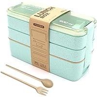 Lunch Box, Bento Box, Anti-Fuite Écologique Bento, Blé Naturel 3 Compartiments 900ml Anti-Fuite Écologique Boîte de…
