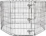 AmazonBasics - Recinzione in metallo per cani, pieghevole, per l'esercizio, 152,4 x 152,4 x 91,4 cm