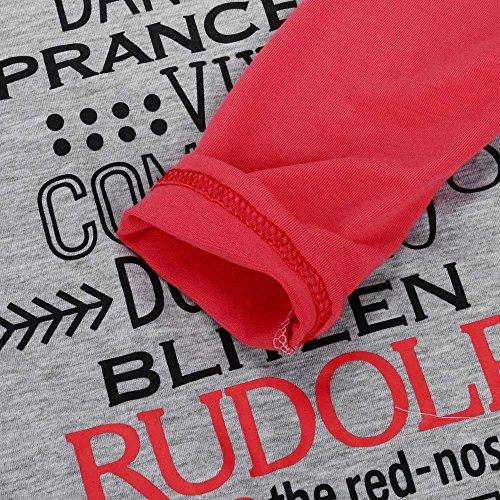 KOLY Da donna Merry Natale Maglie maniche lunghe a maniche corte Camicetta casual Felpe Corte Tumblr Sportive Tops Maniche Maglione Pullover Stampa Sweatshirt Basic Maglietta T shirt Red