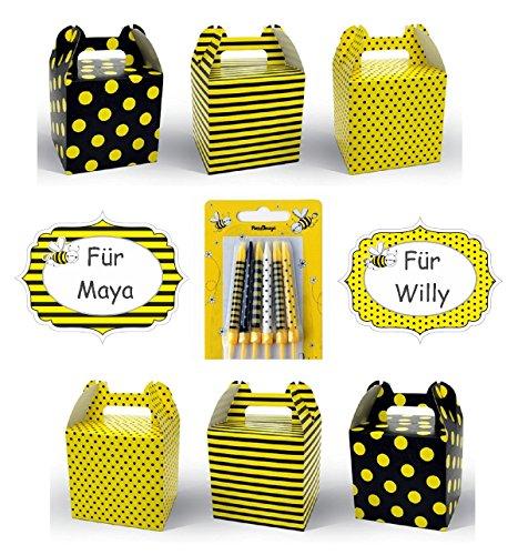 ja Motto Party I 18 Teile Kerzen Namensschild Geschenkbox Schwarz Gelb Bunt Mädchen Kinder Geburtstag (Maya Kostüm Für Kinder)