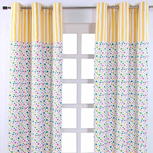 Homescapes Kindervorhang Mädchen Kinderzimmer Ösenvorhang Dekoschal Polka Dots 2er Set bunt 137 x 228 cm (Breite x Länge je Vorhang) 100% reine Baumwolle (Vorhang Dot Stoff)