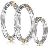 WOWOSS 3 Rouleaux Fil d'artisanat en Aluminium(1 mm, 2 mm, 3 mm) pour Fil Aluminium Bijoux l'artisanat de Bricolage Perlage e
