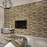 LONGYUCHEN 3D Stereoskopische Faux Stein Brick Wall Tapete Für Wände Wohnzimmer Tv Hintergrund Wallpaper Wandbild,200Cm(H)×300Cm(W)