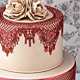 JoyGlobal Silicone 2-in-1 Cake Lace Edible Sugar Strips Silver Wedding Cake Decor Lace Mat, Pink