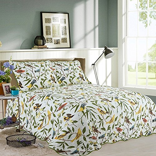 beddingleer-100-cotton-pastoral-king-doubletree-blossom-with-birds-printed-quilt-set-of-3-patchwork-