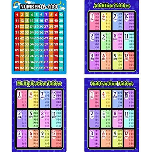 4 Stücke Mathematik Pädagogische Lernen Poster Diagramme, Multiplikation Tabellen, Zusatz Tabellen, Subtraktion Tabellen, Nummer 1-100 Poster für Vorschulkinder