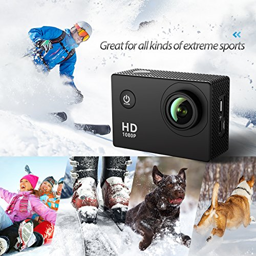 Action Camera, VicTsing Sport Camera Underwater to 30m 1080P 12MP Full HD 170° Wide Angle Lens 2.0 Inch Display 900 mAh Rechargeble Battery + Mounting Accessories Kits for Bike Motorcycle Surfing Diving Swimming Skiing etc- Black