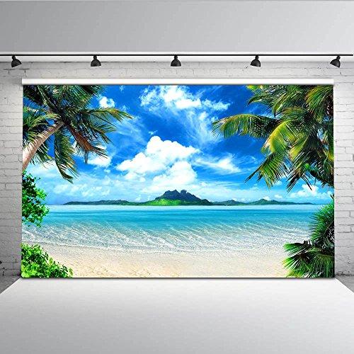 Mehofoto Tropical Beach Szene Foto Kulisse 7x5ft Sea Palm Baum Blue Sky Backdrops Nahtlose Hochzeit Party Fotografie Hintergrund - Hintergrund Stand Foto