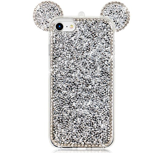 Girlyard Custodia per iPhone 7 Plus / iPhone 8 Plus Brillantini in Silicone Morbido,Glitter Bling Orecchie di Topolino Lusso Strass Diamante Crystal Clear Cristallo Gel TPU Cover Case Coperture Protet Argento
